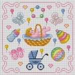 grille broderie naissance fille