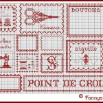 grille broderie rouge