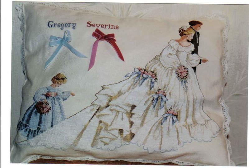 Grille broderie mariage - Grille gratuite point de croix coussin de mariage ...