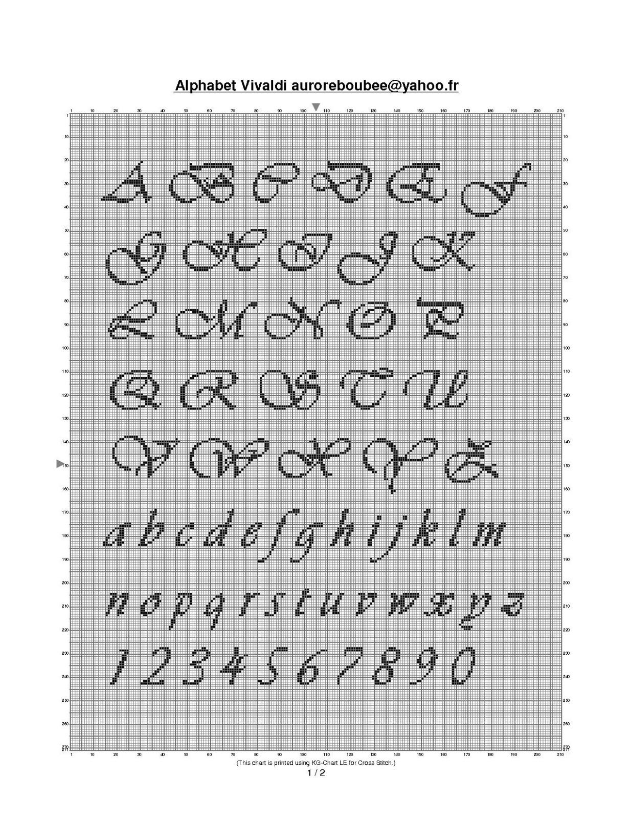 Modele de lettre broderie - Grille point de croix lettre ...